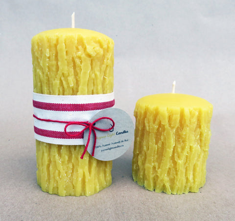 "Tree Bark Pillar Candle - 2.75"" wide x 3"" tall"