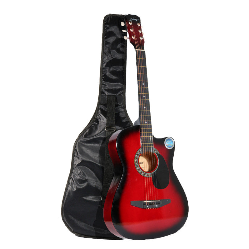 Jixing 38 Inch Wooden Angled Acoustic Guitar 6 Color Folk Guitar with Storage Bag Gift for Beginner