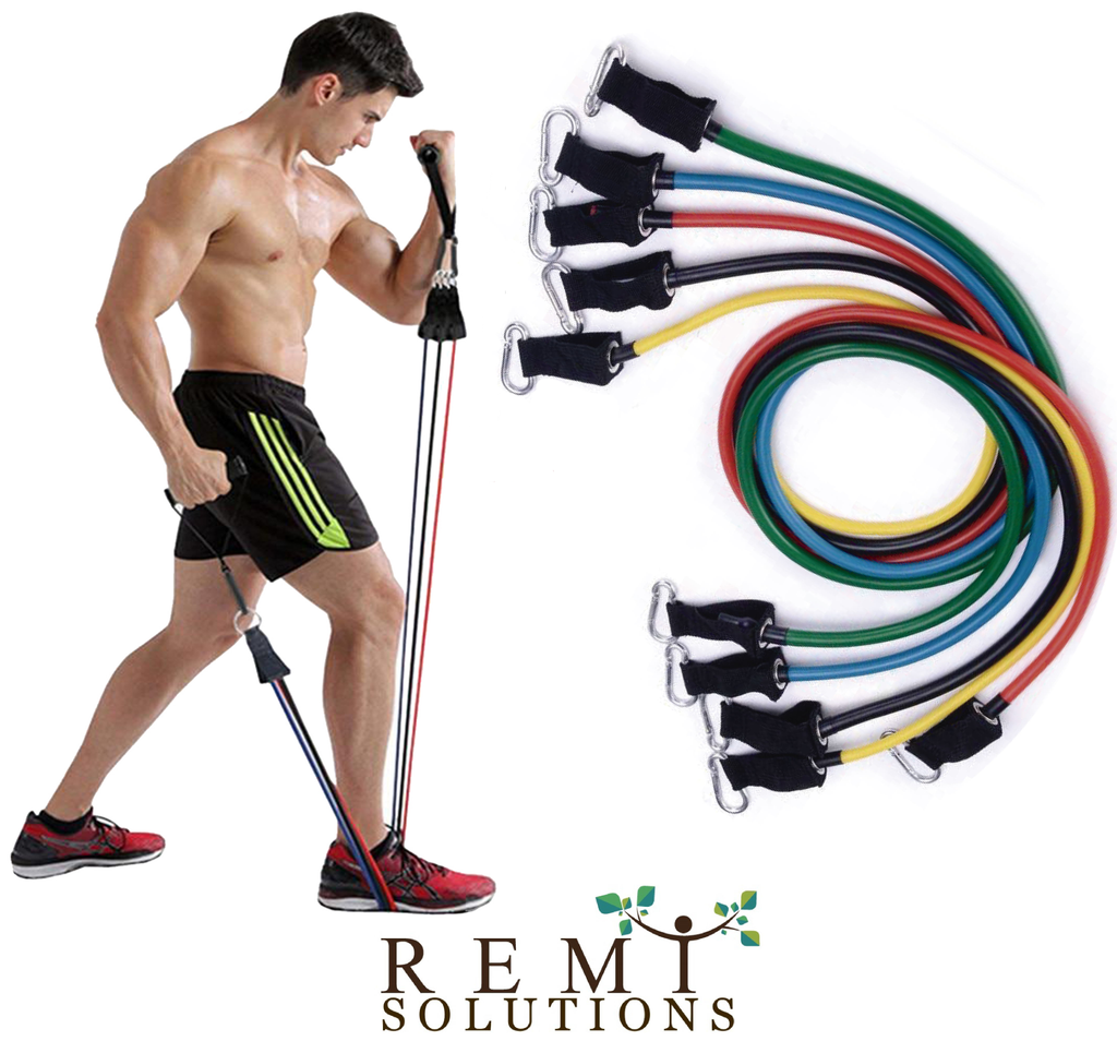 11pcs Resistance Bands Pull Up Tube Set Exercise Bands Stretch Elastic Pull Rope Band Kit - Remiso