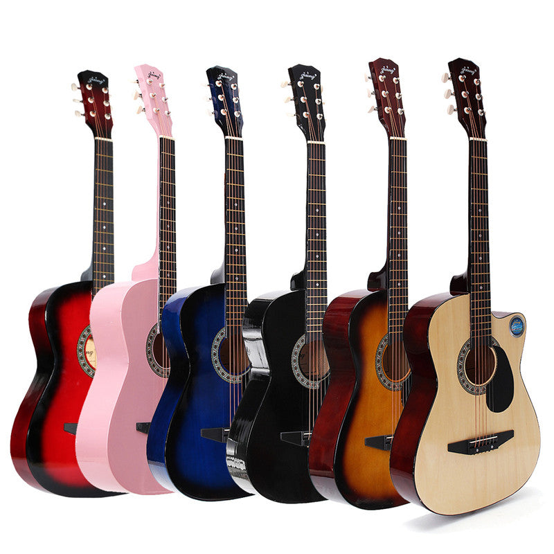 Jixing Acustic Guitar 38in Wooden Best Acoustic Guitar for Beginners w/Case 6 Colors