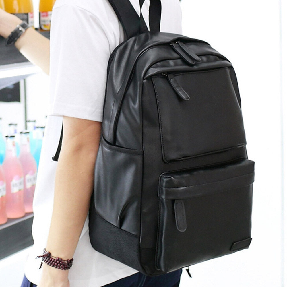 travel backpack men laptop Vintage Backpack Hiking Leather Rucksack Shoulder Large Capacity School Bag #G2 - Remiso