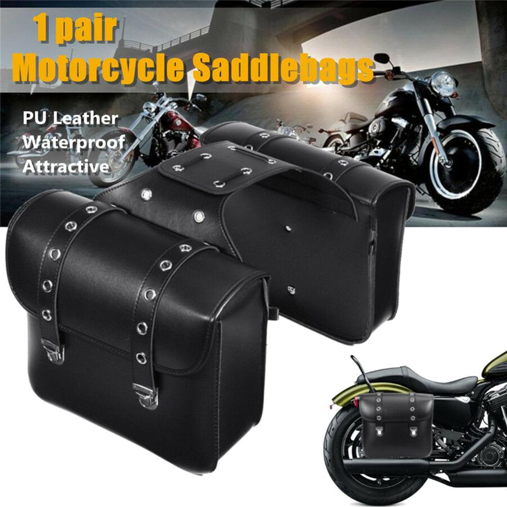 XrossG™ PU Leather Waterproof Motorcycle Side Saddlebag Luggage Saddle Bag Black