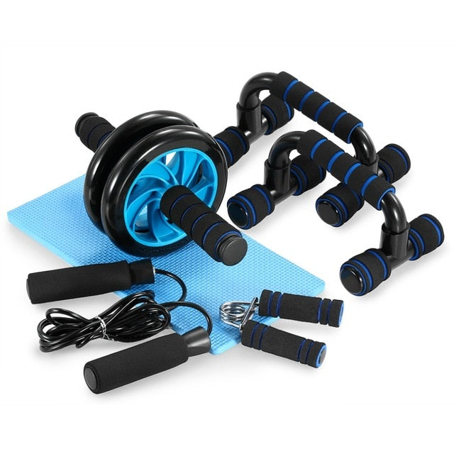 TOMSHOO™ 4-in-1 Fitness Equipment Muscle Trainer Wheel Roller Kit Abdominal Exercise Push Up Workout Sport Home Gym - Remiso