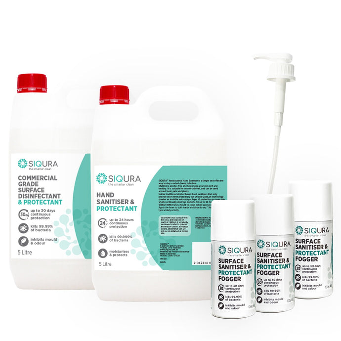 Siqura Back to Business Pack - SMALL (Surface Protectant, Hand Sanitiser & Foggers)