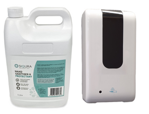 Siqura Hand Sanitiser 5 Litre, Automatic Hand Sanitiser Dispenser & Liquid Converter. Costs 1 cent per spray to sanitise for 24 hours