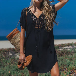 Fanbety  Plus size Tassels Beach Wear dress Women Swimsuit Cover Up Bathing  Summer Mini Dress Loose Solid Pareo Cover up dress