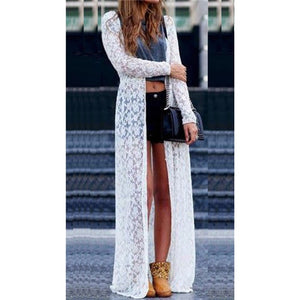 Women Sheer Lace Dress Cover-up Summer Cardigan Beach Long Dress Lady 2019 Sexy New Hot Summer robe femme ropa mujer Elegant