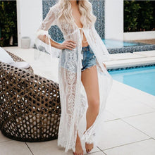 Boho Women Fringe Lace kimono cardigan White Tassels Beach Cover Up Cape Beach Blouse Sunscreen Lace sexy long dress 2019 q60