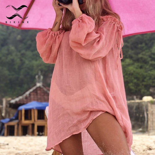 2020 Cotton beach dress cover up White sarong swim cover-ups Long sleeve beachwear off shoulder bikini women cover up tunic new