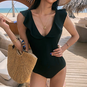 2019 Sexy Ruffle One Piece Deep V Tie Swimsuit Women Solid Swimwear Open Back Suit Pad Bathing Suit Black Beachwear Backless