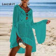 LOOZYKIT Summer Women Casual Hollow Out Knit Dress Flare Sleeve Beach Coast Bikini Blouse Sun Protection Clothing Cover Up