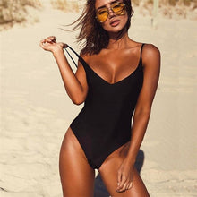 2019 Sexy One Piece Swimsuit Women Swimwear Female Solid Black Thong Backless Monokini Bathing Suit XL