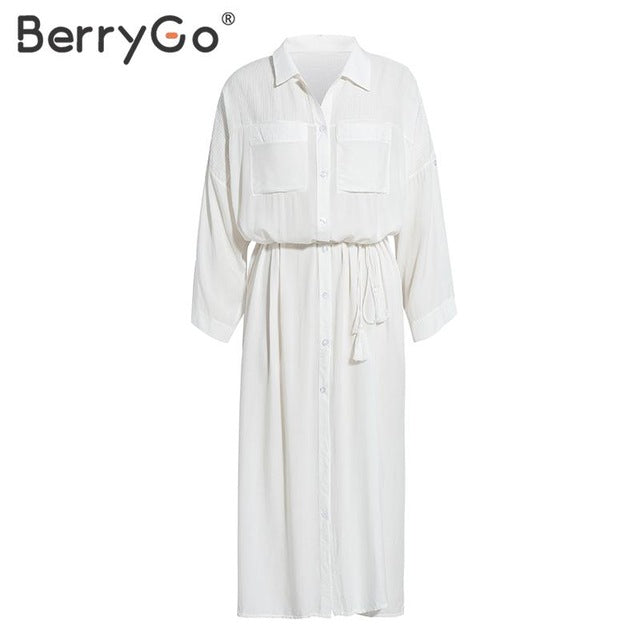 BerryGo Casual white cotton beach dress women Lace up straight long shirt dresses female Loose holiday ladies cover-up vestidos