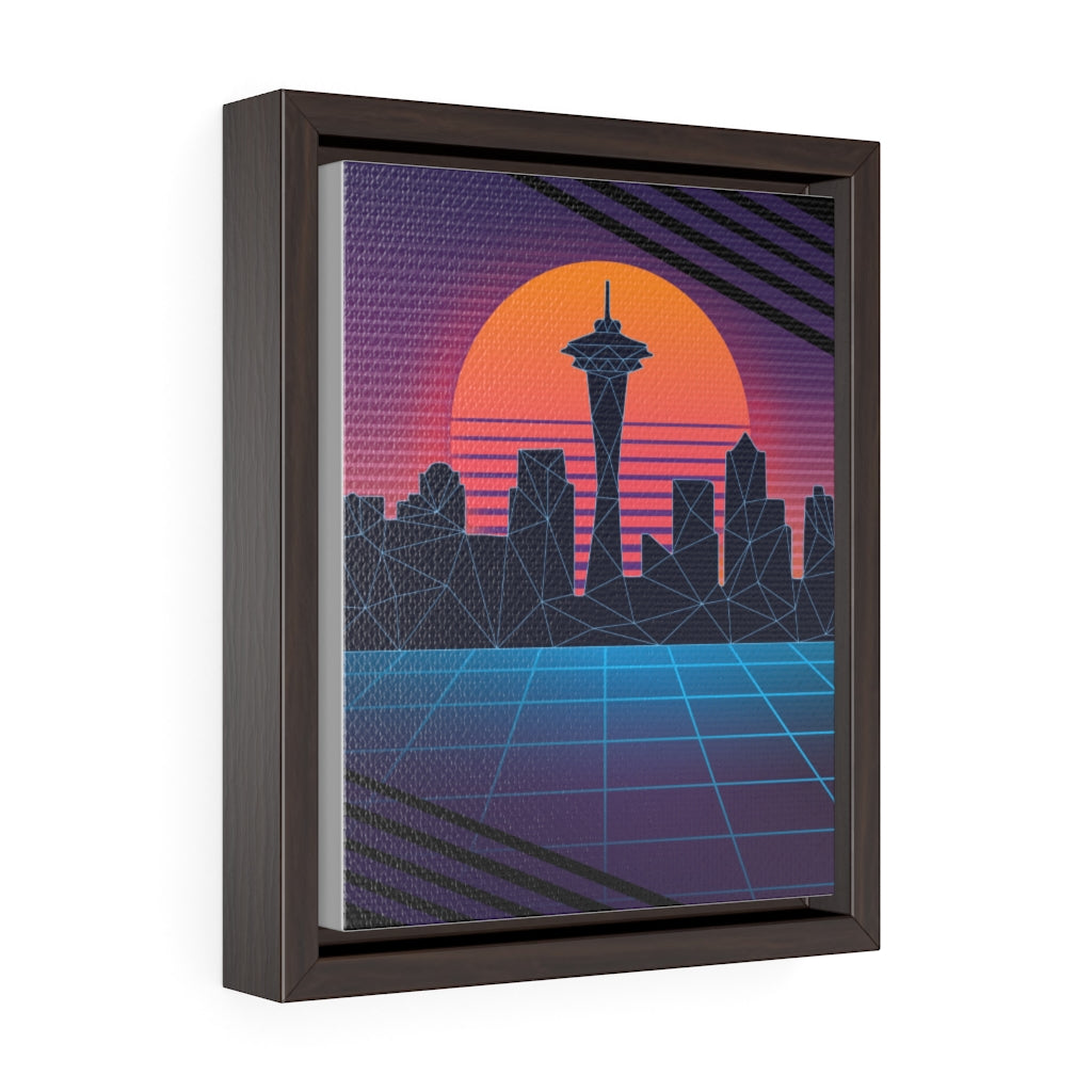 Vaporwave Seattle Skyline - 80's Framed Canvas