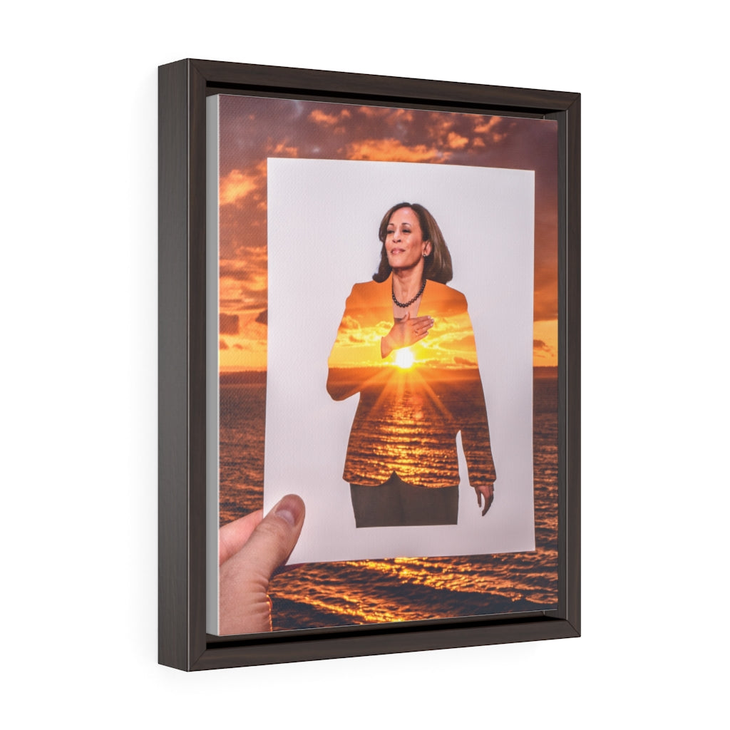 Kamala Harris + Sunset - Framed Canvas