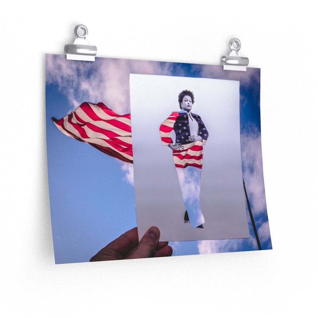 Stacey Abrams + American Flag - Print