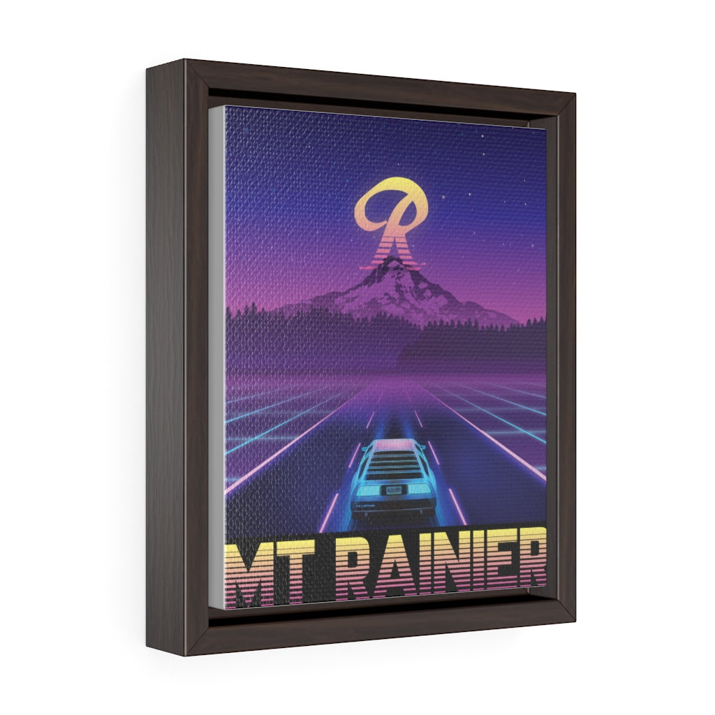 Vaporwave Mt Rainier - 80's Framed Canvas