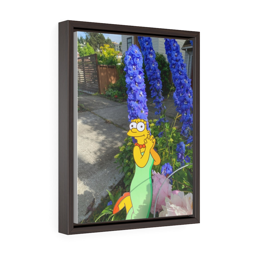The Simpson's Marge + Flowers - Framed Canvas