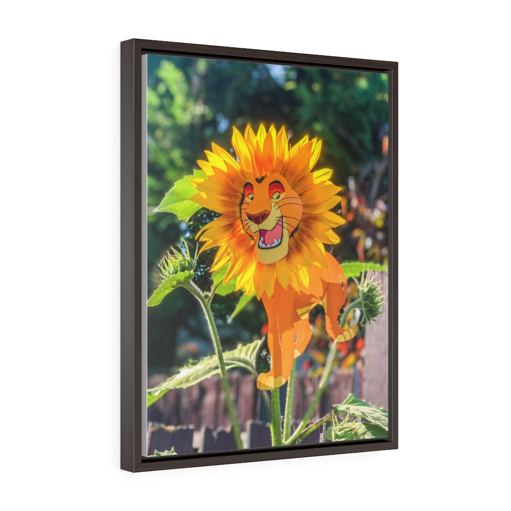 Lion King + Sunflower - Framed Canvas