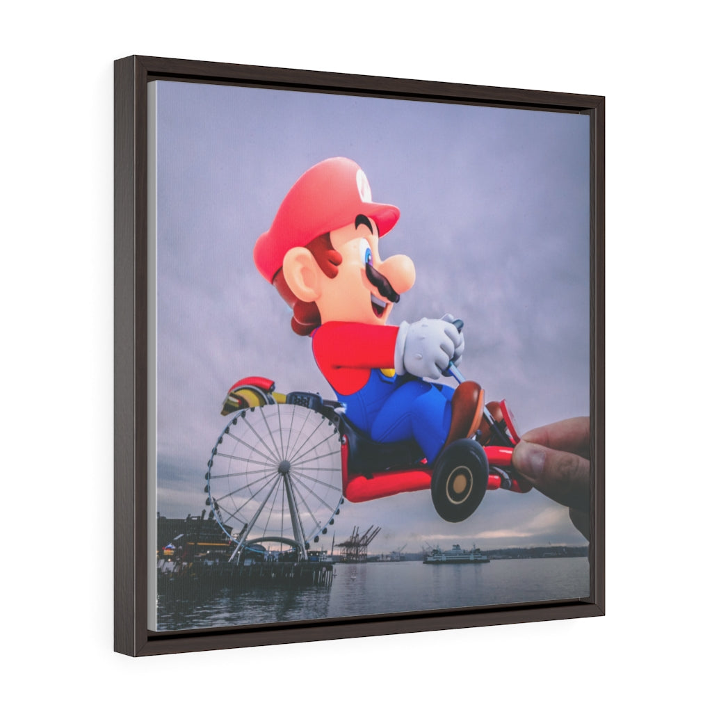 Mario Kart + The Great Wheel - Framed Canvas Print
