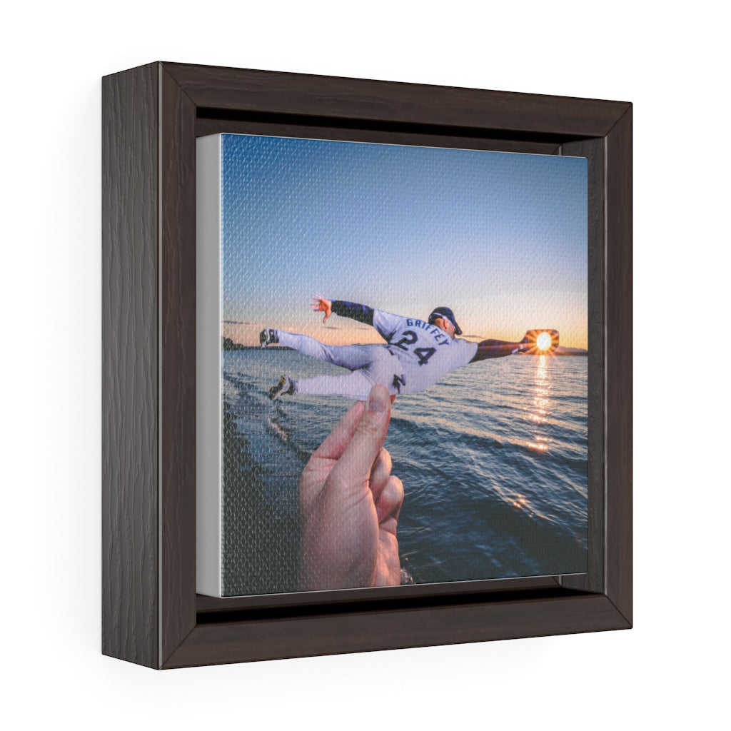 Ken Griffey Jr + Alki Beach Sunset - Framed Canvas