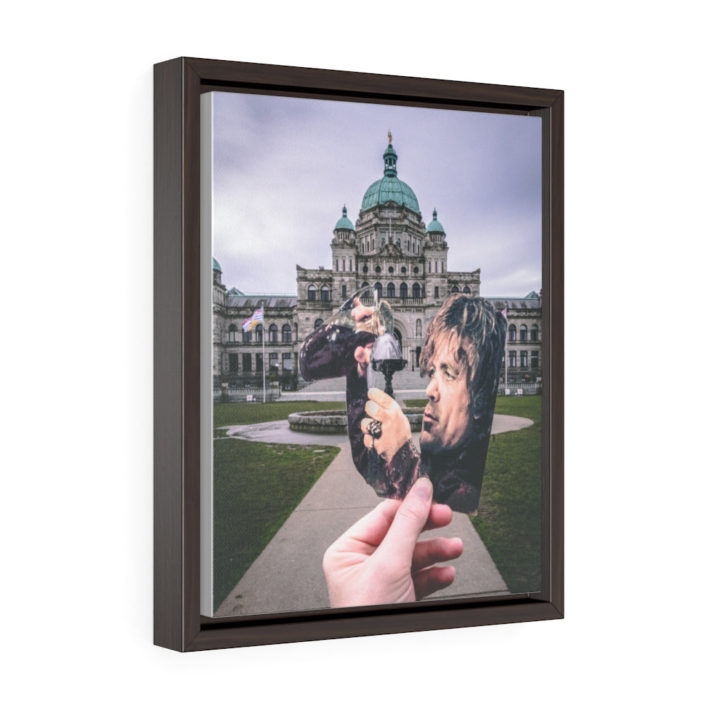 Game of Thrones Tyrion + Victoria Parliament Building Fountain  - Framed Canvas Print