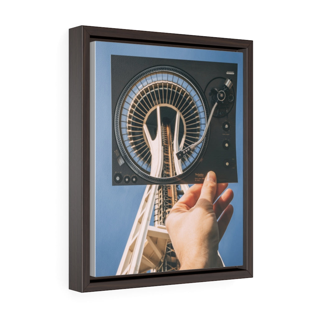 Turntable + Space Needle - Framed Canvas Print