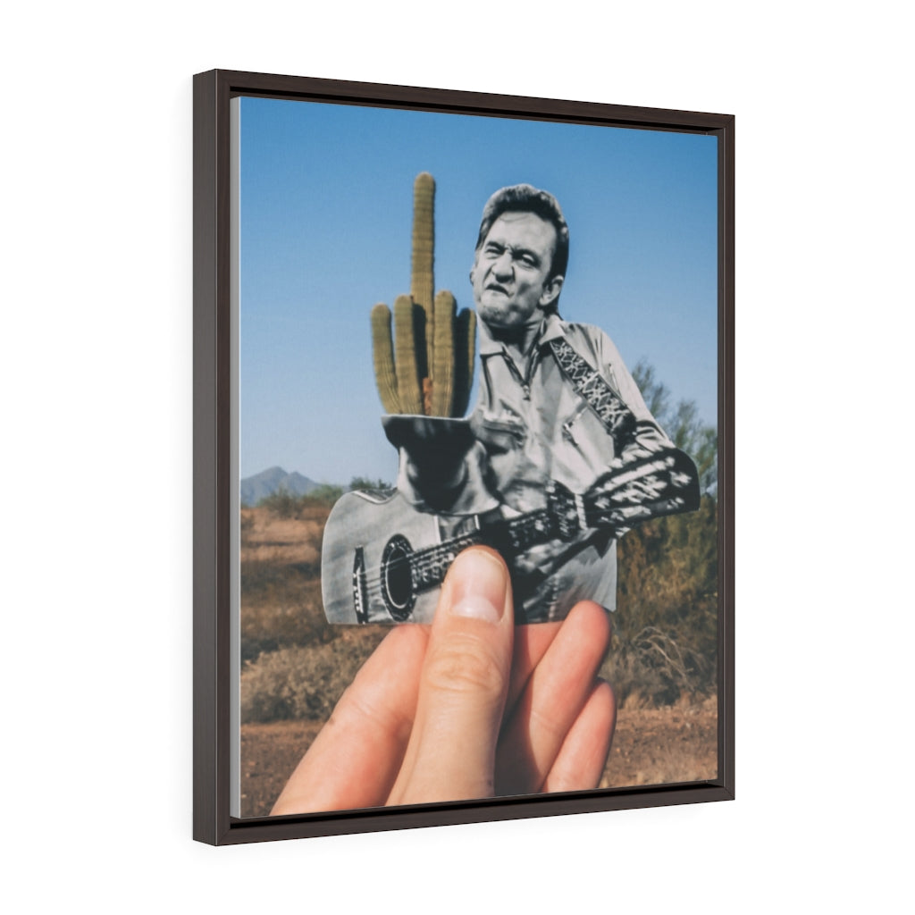 Johnny Cash + Cactus - Framed Canvas Print