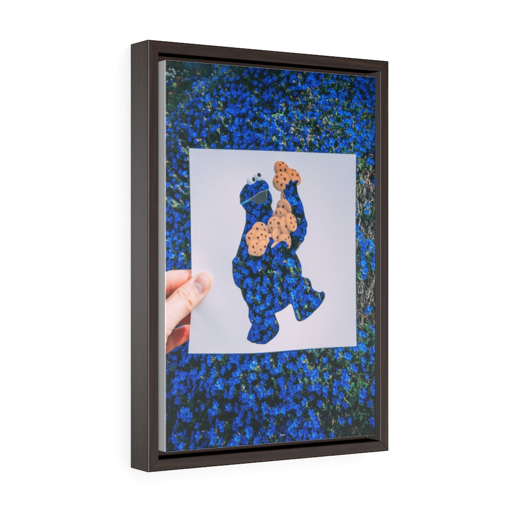 Cookie Monster + West Seattle Flowers - Framed Canvas Print