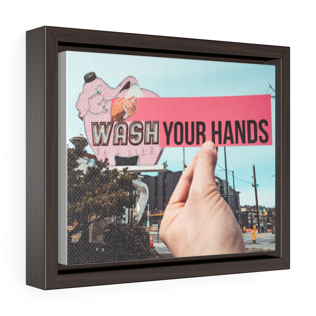 Elephant Car Wash Your Hands - Framed Canvas
