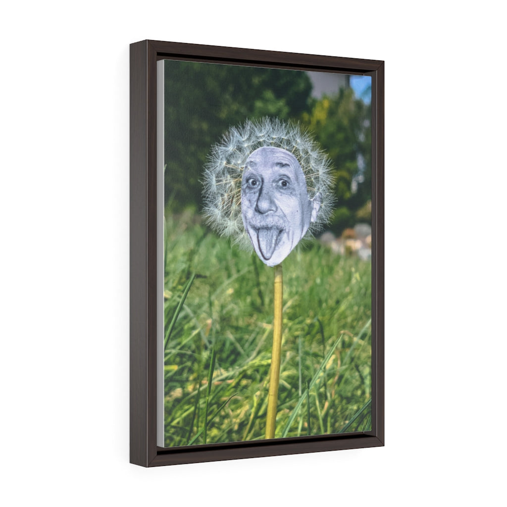Einstein + Dandelion - Framed Canvas Print