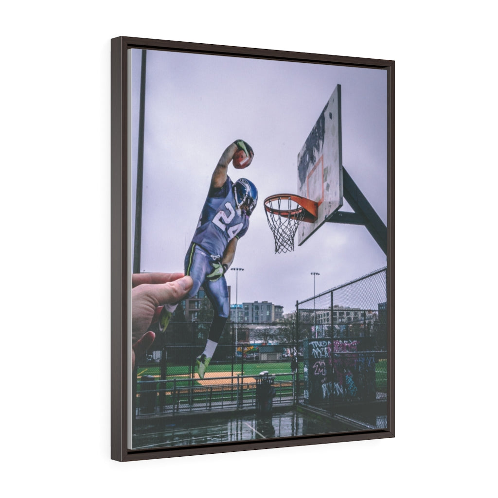 Marshawn Lynch Dunk - Framed Canvas
