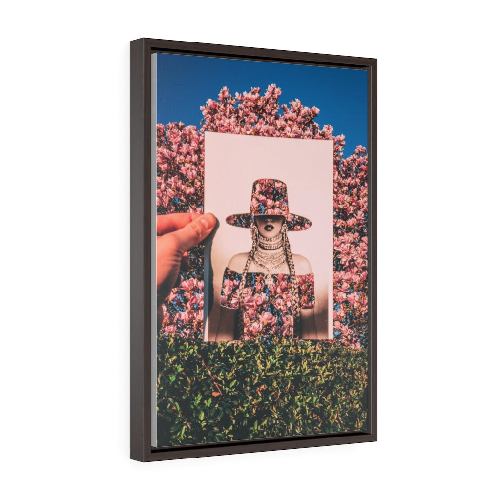 Beyonce + Spring Flowers - Framed Canvas Print