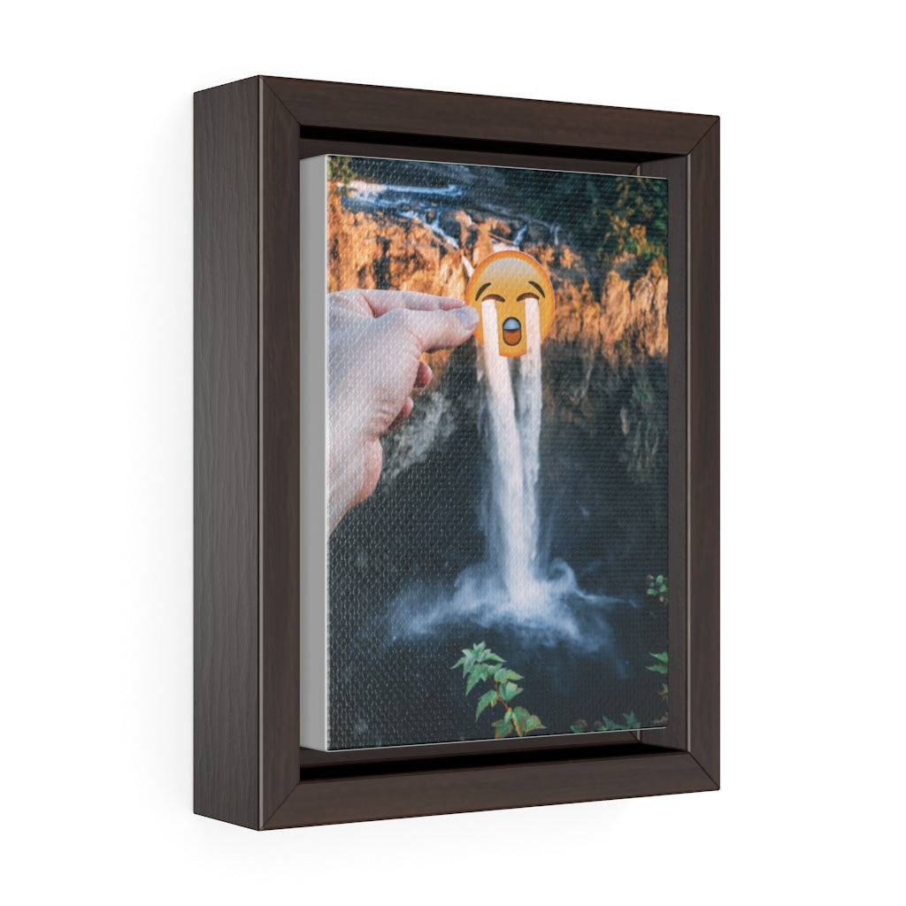 Crying Emoji + Snoqualmie Falls - Framed Canvas Print