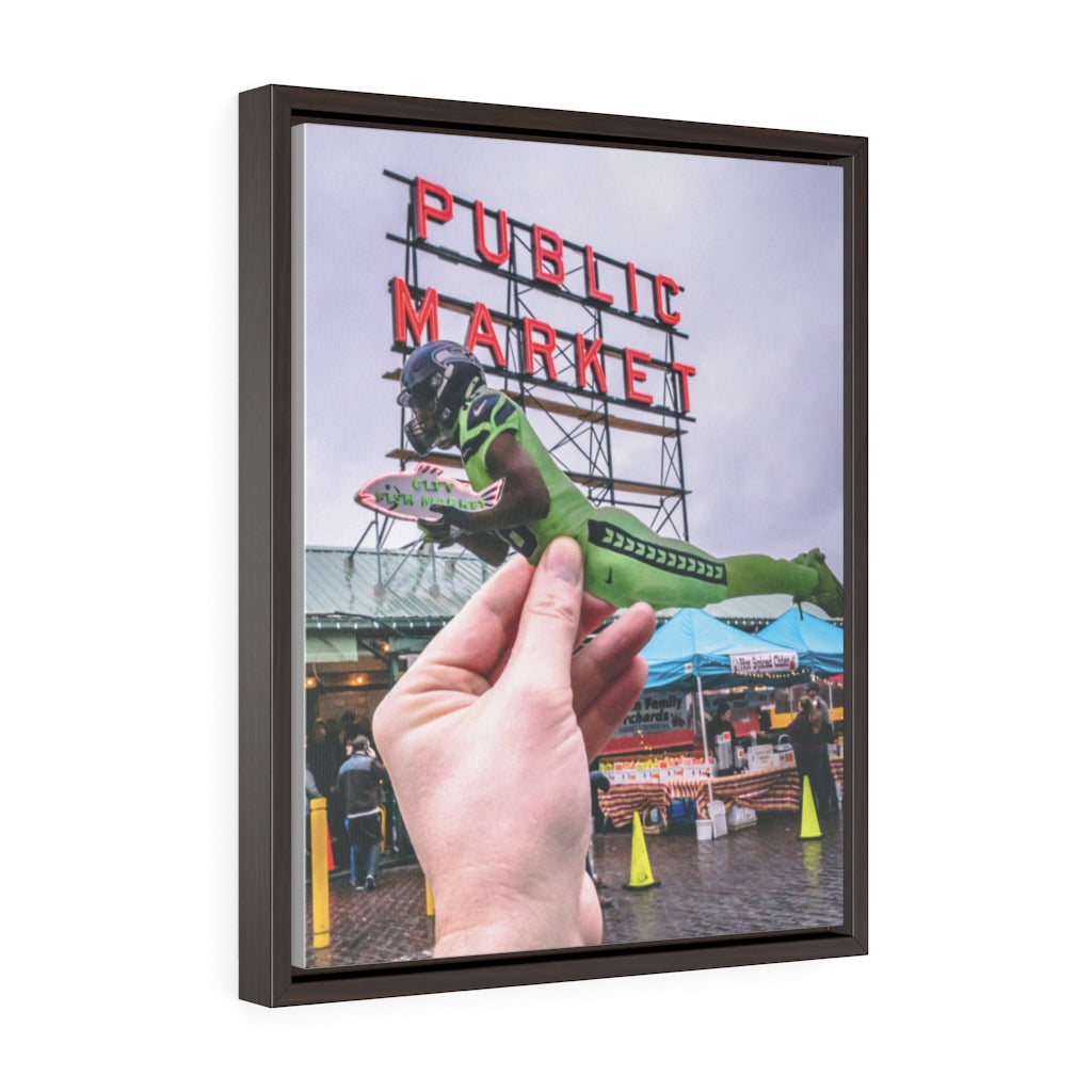 Tyler Lockett + Pike Place Market - Framed Canvas Print