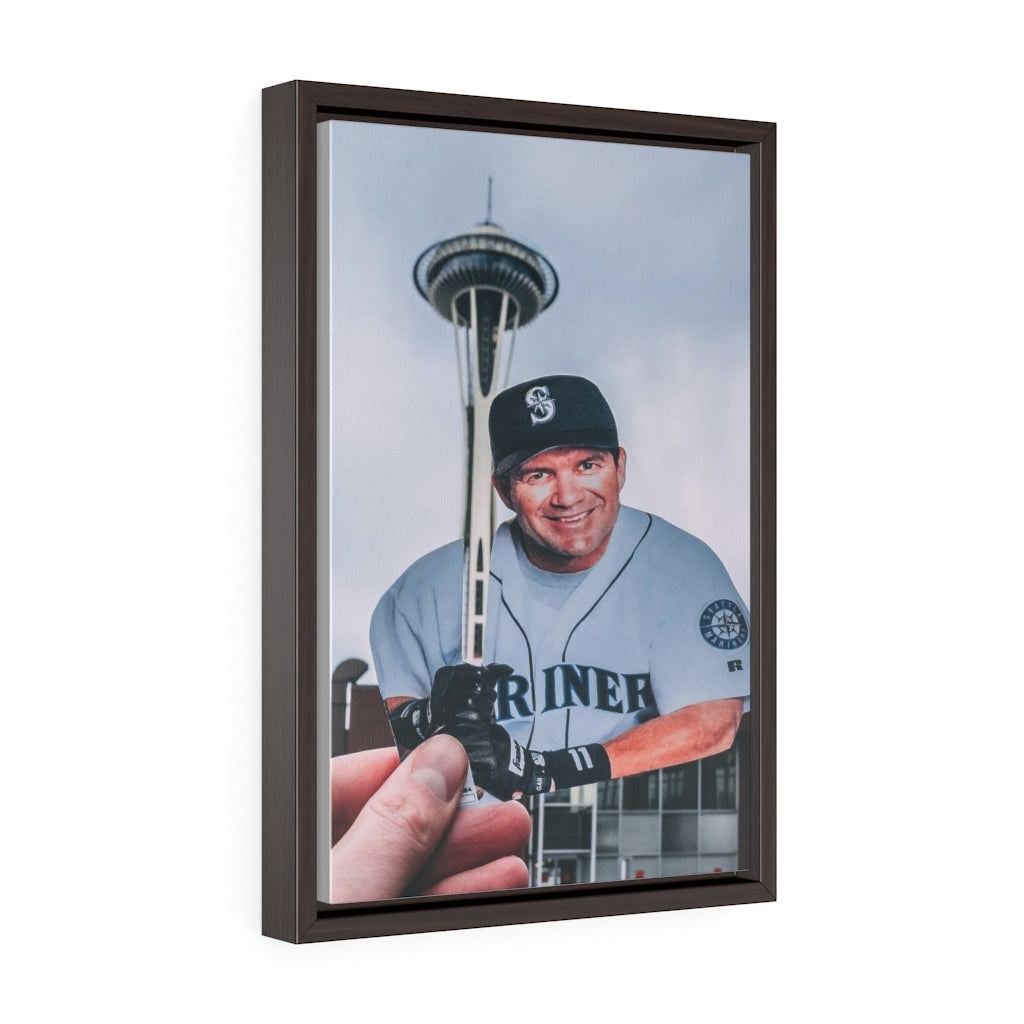 Edgar Martinez + Space Needle - Framed Canvas Print