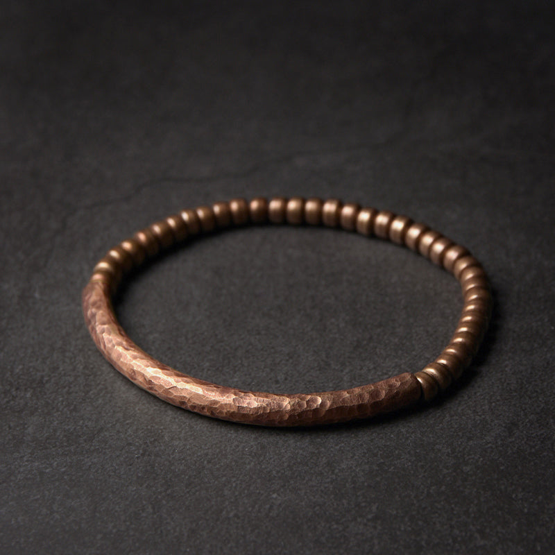 Hammered Pure Copper Bracelet Vintage  Artificial Oxidized
