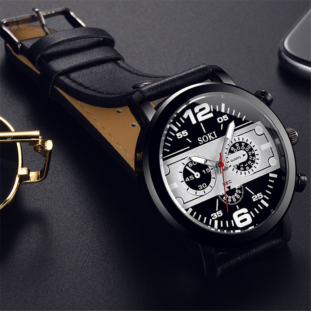 Retro Design Leather Band Watches Men