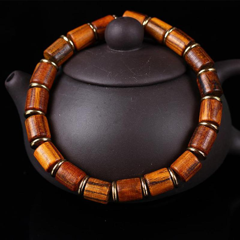 Genuine Natural Nanmu Wooden Beaded Bracelet Men Handmade Tibetan Buddha Hand String Barrel Rosary Prayer Beads Bracelet