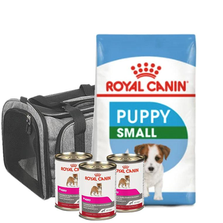 Pack Puppy Royal Canin 1 Alimento Small Puppy 5.9 kg + 3 latas Puppy de 385 gr. + transportadora