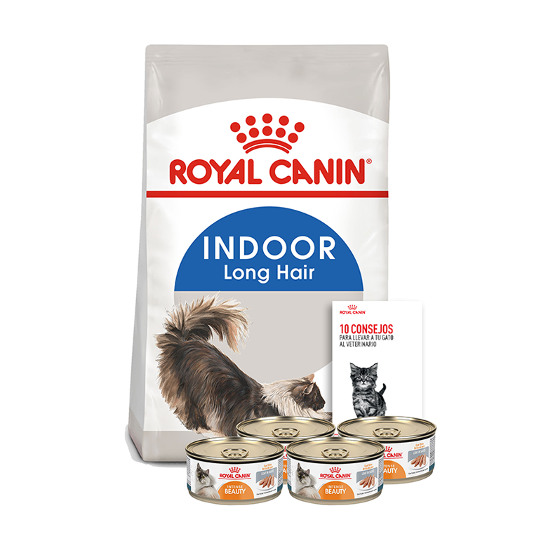 Pack 1 Alimento Indoor Adult Cat de 1.13 kg + 4 latas Intense Beauty Wet de 165 grs + 1 guía del gato