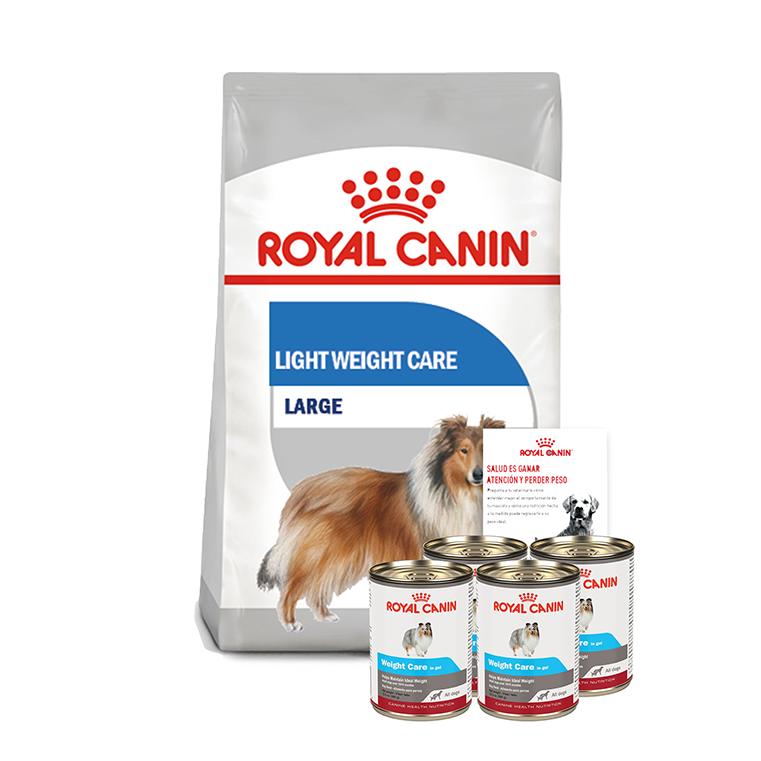 Pack Royal Canin 1 Alimento Weight Care / Maxi Weight Care  de 13.6 kgs + 4 latas Wet all dogs Weight Care de 385 g + guía de alimentación