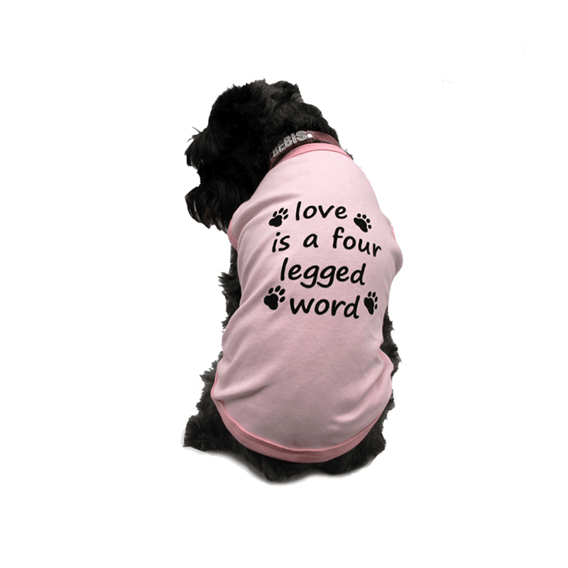 Playera Rosa Love Is a Four Legged Word - Accesorios