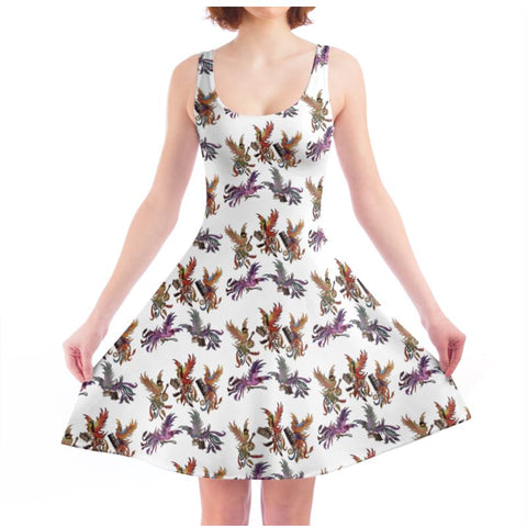 White KPH Multi Ladies Skater Dress