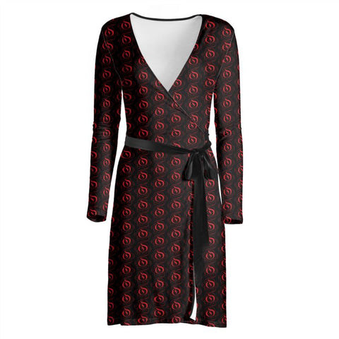 Red on Black EOP Ladies Wrap Dress
