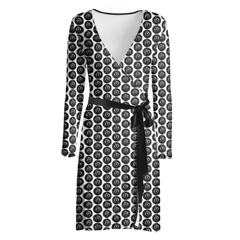 Black Dot White EOP Ladies Wrap Dress