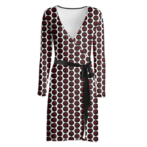 Red/Black Dot White EOP Wrap Dress