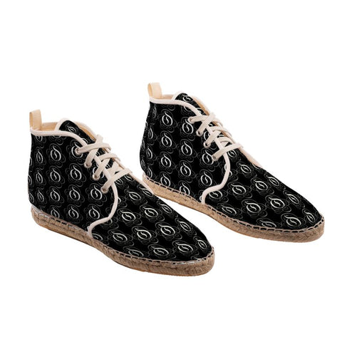 White on Black EOP Hi Top Espadrille Shoes