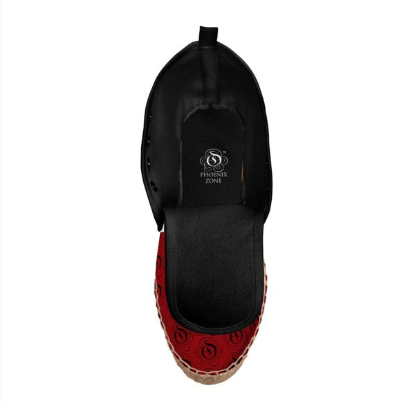 Black on Red EOP Hi Top Espadrille Shoes