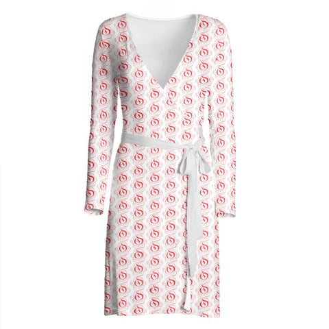 Red on White EOP Ladies Wrap Dress
